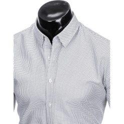 KOSZULA MĘSKA Z DŁUGIM RĘKAWEM K411 - BIAŁA/CZARNA. Brązowe koszule męskie marki Ombre Clothing, m, z aplikacjami, z kontrastowym kołnierzykiem, z długim rękawem. Za 49,00 zł.