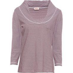 T-shirt bawełniany, rękawy 3/4 bonprix ciemnoczerwony w paski. Czerwone t-shirty damskie bonprix, w paski, z bawełny. Za 34,99 zł.