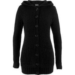 Swetry rozpinane damskie: Sweter rozpinany z kapturem bonprix czarny
