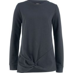 Bluza z przewiązaniem bonprix czarny. Czarne bluzy damskie bonprix. Za 49,99 zł.