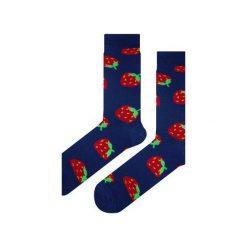 Skarpety niebieskie w truskawki. Fioletowe skarpetki męskie marki Em men's accessories, z bawełny. Za 29,96 zł.