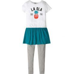 Sukienki dziewczęce: Sukienka + legginsy (2 części) bonprix biało – jasnoszary melanż