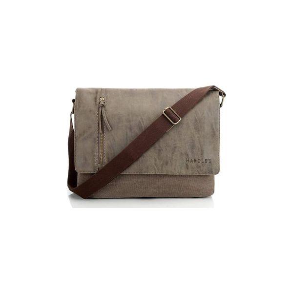 911ebcec2f94b Brązowa mocna torba na ramię harold s canvas - Pomarańczowe torby męskie na  ramię Harold s