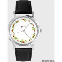 Zegarki damskie: Zegarek - Wianek, dzika róża - skóra, czarny