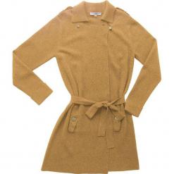 Płaszcz kaszmirowy w kolorze karmelowym. Brązowe płaszcze damskie wełniane marki Ateliers de la Maille, w paski. W wyprzedaży za 1046,95 zł.