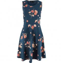 Sukienka shirtowa bez rękawów, w kwiatowy deseń bonprix ciemnoniebieski w kwiaty. Niebieskie sukienki bonprix, w kwiaty, bez rękawów. Za 74,99 zł.