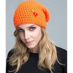 Czapka dziana KRAFF ORANGE handmade. Pomarańczowe czapki zimowe damskie Pakamera, z dzianiny. Za 109,00 zł.
