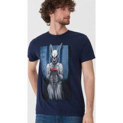 T-shirty męskie: T-shirt z halloweenowym motywem - Granatowy