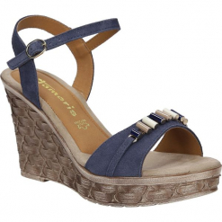 Sandały skórzane na koturnie z ozdobami Tamaris 1-28348-28. Szare sandały damskie marki Tamaris, na koturnie. Za 168,99 zł.