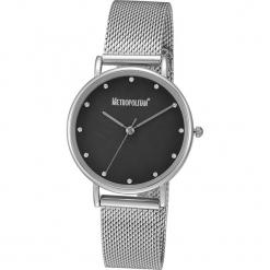 """Zegarek kwarcowy """"Peary"""" w kolorze czarno-srebrnym. Szare, analogowe zegarki damskie METROPOLITAN, metalowe. W wyprzedaży za 130,95 zł."""