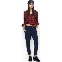 Spodnie dresowe damskie: Granatowe Spodnie Dresowe Luźne z Kieszeniami