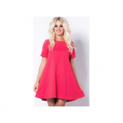 Phlox - różowa sukienka pikowana. Różowe sukienki na komunię marki numoco, l, z dekoltem w łódkę, oversize. Za 139,00 zł.