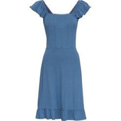 Sukienka bonprix niebieski dżins. Niebieskie sukienki z falbanami marki bonprix, z materiału. Za 44,99 zł.