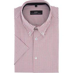 Koszula SERGIO slim 15-10-42-K. Czerwone koszule męskie slim Giacomo Conti, na lato, m, w kratkę, z materiału, button down, z krótkim rękawem. Za 149,00 zł.