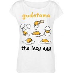 Gudetama The Lazy Egg Koszulka damska biały. Białe bluzki nietoperze Gudetama, m, z nadrukiem, z dekoltem w łódkę. Za 79,90 zł.