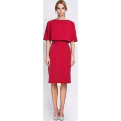 Czerwona Wizytowa Sukienka Dzianinowa z Rękawem 1/2. Różowe sukienki dzianinowe marki numoco, l, z dekoltem w łódkę, oversize. Za 149,00 zł.