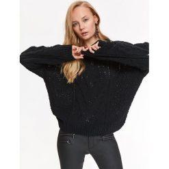 SWETER W WARKOCZE. Czarne swetry klasyczne damskie Top Secret, na jesień. Za 149,99 zł.