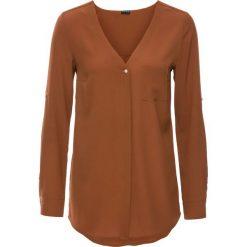 Bluzka z długim rękawem bonprix koniakowy. Brązowe bluzki longsleeves bonprix, z dekoltem w serek. Za 89,99 zł.