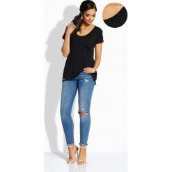 Bluzki, topy, tuniki: Czarna Bluzka Asymetryczna Luźna z Kieszonką