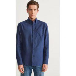 Koszula slim fit z bawełny organicznej - Niebieski. Niebieskie koszule męskie na spinki Reserved, l, z bawełny. Za 99,99 zł.