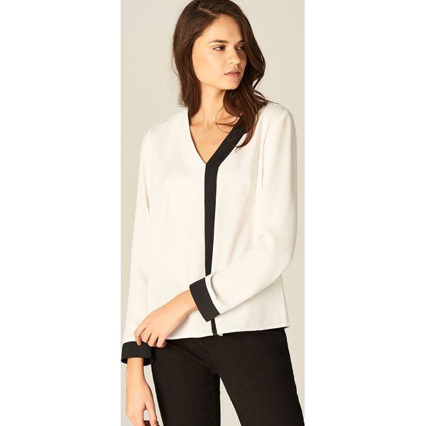 2eb479744 Elegancka koszula z kontrastowym wykończeniem - Biały - Białe ...