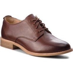 Oxfordy CLARKS - Edenvale Ash 261365244 Dark Tan Leather. Brązowe creepersy damskie Clarks, z materiału, na obcasie. Za 399,00 zł.