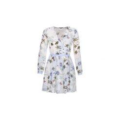 Sukienki krótkie Tommy Hilfiger  MARA-CHIFFON-DRESS-LS. Białe sukienki mini marki TOMMY HILFIGER, z krótkim rękawem. Za 663,20 zł.