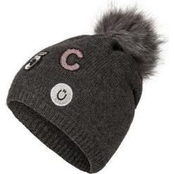"""Czapka """"Patches"""" w kolorze antracytowym. Szare czapki zimowe damskie Codello, z aplikacjami, z dzianiny. W wyprzedaży za 73,95 zł."""