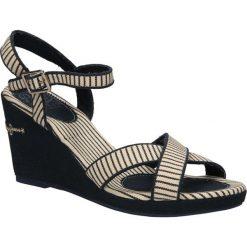 SANDAŁY PEPE JEANS PLS90120. Czarne sandały damskie Pepe Jeans, z jeansu. Za 139,99 zł.