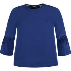 Koszulka w kolorze niebieskim. Białe bluzki dziewczęce z długim rękawem marki Marc O'Polo Junior, z nadrukiem, z okrągłym kołnierzem. W wyprzedaży za 62,95 zł.