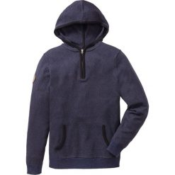 Sweter z zamkiem i kapturem Regular Fit bonprix niebieski melanż. Niebieskie swetry klasyczne męskie marki bonprix, l, melanż, z kapturem. Za 79,99 zł.
