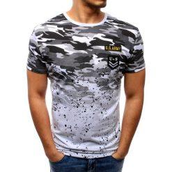 T-shirty męskie: T-shirt męski camo z naszywkami biały (rx2742)