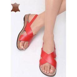Czerwone Skórzane Sandały Sweet and Funny. Czerwone sandały damskie Born2be, z materiału, na obcasie. Za 99,99 zł.