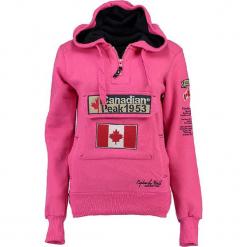 """Bluza """"Gyrelle"""" w kolorze różowym. Czerwone bluzy rozpinane damskie marki Canadian Peak, s, z aplikacjami, prążkowane, z krótkim rękawem, krótkie. W wyprzedaży za 136,95 zł."""