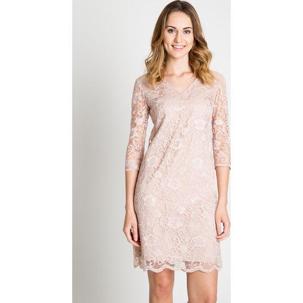 c1b88ea037 Koronkowa sukienka w kolorze pudrowym BIALCON - Różowe sukienki damskie  BIALCON
