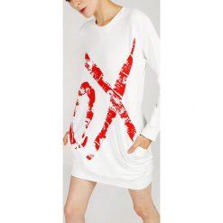 Sukienka - 158-X086 BIAN. Białe sukienki hiszpanki Unisono, na lato, l, z nadrukiem, z bawełny, z okrągłym kołnierzem, z długim rękawem, mini, proste. Za 79,00 zł.