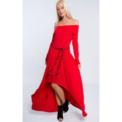Sukienka maxi asymetryczna czerwona 3702. Czerwone sukienki Fasardi, l, z asymetrycznym kołnierzem, maxi, asymetryczne. Za 89,00 zł.