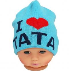Czapka niemowlęca z napisem tata CZ 160C. Niebieskie czapeczki niemowlęce Proman, z napisami. Za 30,75 zł.