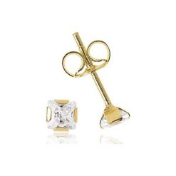 Kolczyki Złote - złoto żółte 585, Cyrkonia. Żółte kolczyki damskie marki W.KRUK, z cyrkonią, złote. Za 189,00 zł.