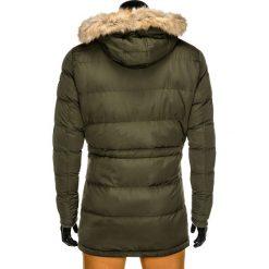 KURTKA MĘSKA ZIMOWA PARKA C308 - OLIWKOWA. Zielone kurtki męskie zimowe Ombre Clothing, m, z futra. Za 99,00 zł.