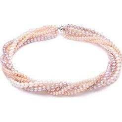Naszyjniki damskie: Naszyjnik w kolorze różowym z perłami – (D)45 cm