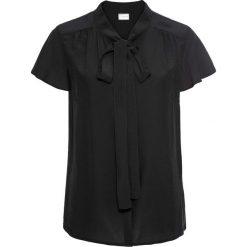 Bluzka z krawatką, krótki rękaw bonprix czarny. Czarne bluzki wizytowe bonprix, eleganckie, z krótkim rękawem. Za 74,99 zł.