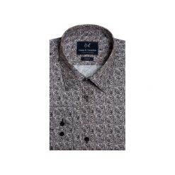 Koszula GLOCK 4. Szare koszule męskie na spinki Guns&tuxedos, z bawełny, z klasycznym kołnierzykiem. Za 149,99 zł.