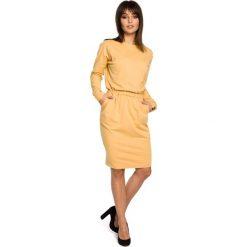 Żółta Sukienka z Gumką w Pasie. Żółte sukienki dzianinowe marki Molly.pl, na co dzień, l, z długim rękawem, oversize. Za 149,90 zł.