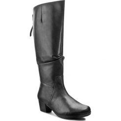 Kozaki GABOR - 36.638.57 Schwarz. Czarne buty zimowe damskie Gabor, z materiału, przed kolano, na wysokim obcasie, na obcasie. W wyprzedaży za 419,00 zł.