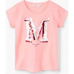 Mango Kids - Top dziecięcy Mangos2 110-164 cm. Szare bluzki dziewczęce Mango Kids, z aplikacjami, z bawełny, z okrągłym kołnierzem, z krótkim rękawem. W wyprzedaży za 29,90 zł.