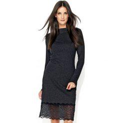 Klasyczna sukienka z koronką n131. Czarne sukienki balowe marki Nunu, s, w koronkowe wzory, z dresówki, z klasycznym kołnierzykiem, midi, dopasowane. Za 139,00 zł.