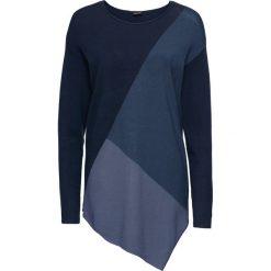 Sweter w kontrastowym połączeniu kolorów bonprix niebieski wzorzysty. Niebieskie swetry klasyczne damskie bonprix, z kontrastowym kołnierzykiem. Za 89,99 zł.