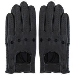 Rękawiczki męskie: Skórzane rękawiczki w kolorze czarnym