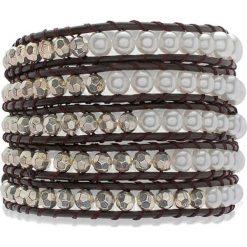 Bransoletki damskie: Skórzana bransoletka w kolorze ciemnobrązowo-srebrno-białym z perłami syntetycznymi